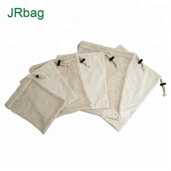 6pcs Set Reusable Produce Bags for Grocery Shopping-3pcs Mesh Produce Bag And 3pcs Cotton Produce Bag