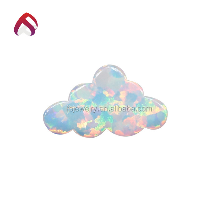 Synthetic Snow White Fire Cloud Opal Stone 7.3x12mm