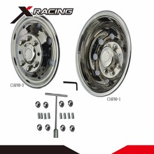 "Full set flashy 16"" 16 inch 304 stainless steel simulator wheel rim covers"