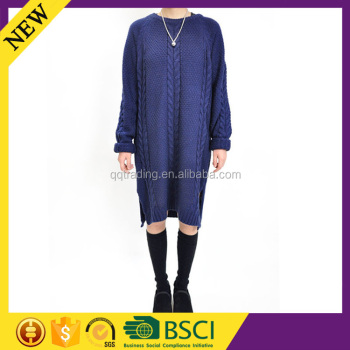 Long sleeve cable knit dress model fashion designer women dress garment