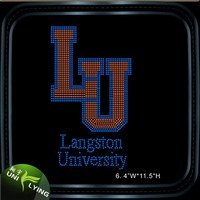Customized University colorful rhinestone transfer designs