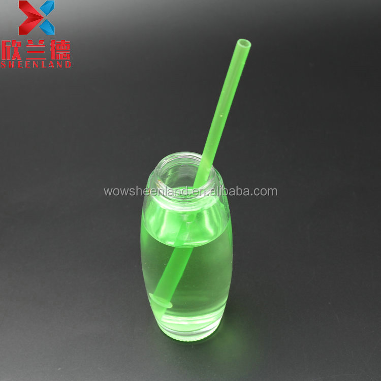 200ml cylinder shape transparent mineral water glass bottle beverage bottle with screw cap