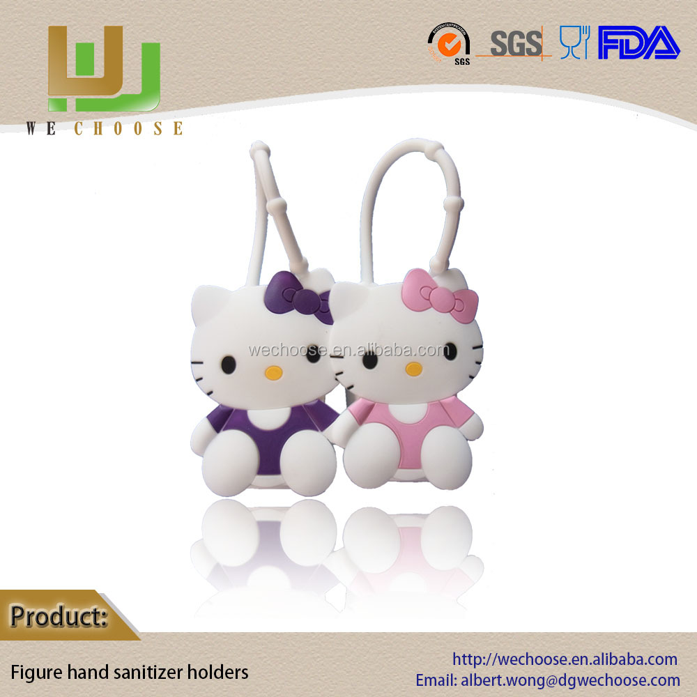 2016NEW hello kitty 3d animal pocketbac silicone hand sanitizer holders