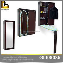Home ironing center wall hanging wooden cabinet ironing board mirror