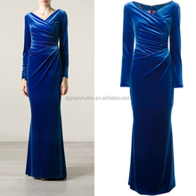 Draped neckline v-neck long sleeve velvet evening dresses