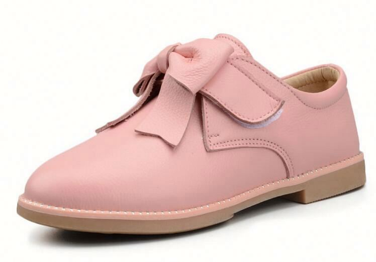 Fashion footwear Princess Children Girls Shoes With Bowknot PU Leather soft Shoes