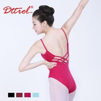 D031012 Dttrol Lycra sexy black woman cross-back camisole leotard ballet dancing leotards dance wear for ladies multicolored