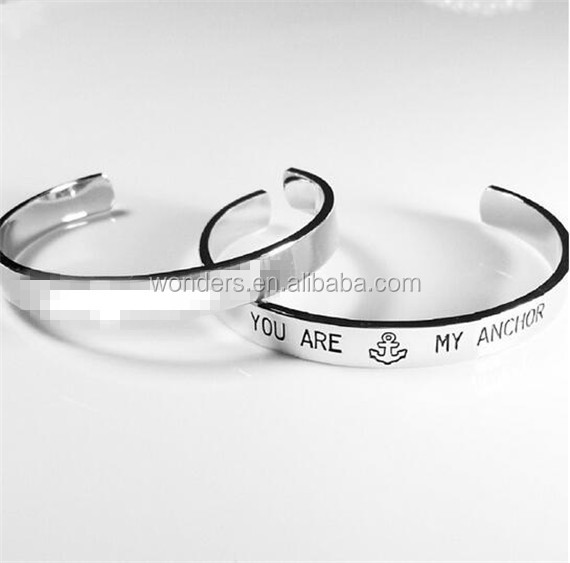 Silver Gold Plated Engrave You are My Anchor Bangle Statement Stainless Steel Bracelet Jewelry Engagement Return Valentine Gift