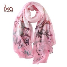 100% Silk Chiffon Print Custom Design Indian Silk Scarf Sex Arabic Floral Silk Scarf