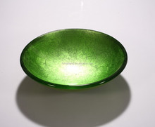 European style Apple Green Round Bowl Shape Tempered Glass Fruit Plate F-10