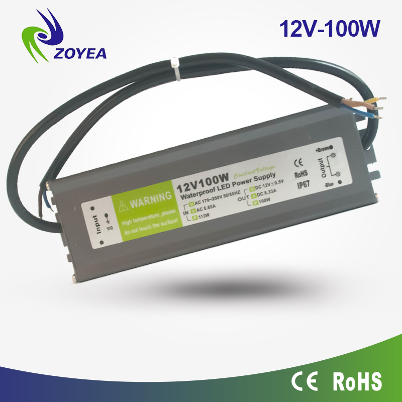 China 100w led driver waterproof ip67 12v ac adapter creative led strip power supply factory