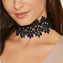 Sexy Black Lace Floral Wrap Choker Necklaces Fabric Flower Lariat Chocker Jewelry Accessory