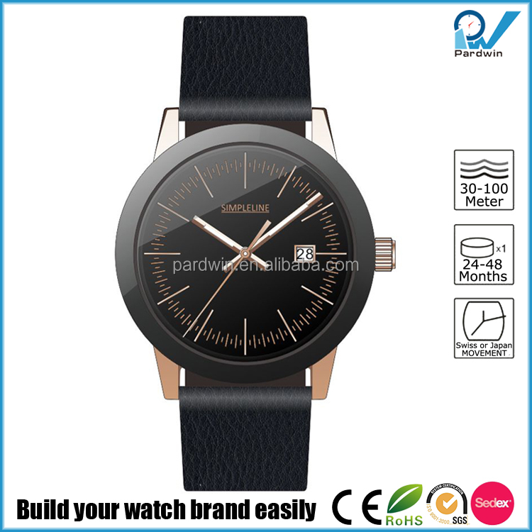 Italian leather wristband PVD rose gold case and black bezel Minimalist Dial Custom Brand Logo Watches Men Luxury