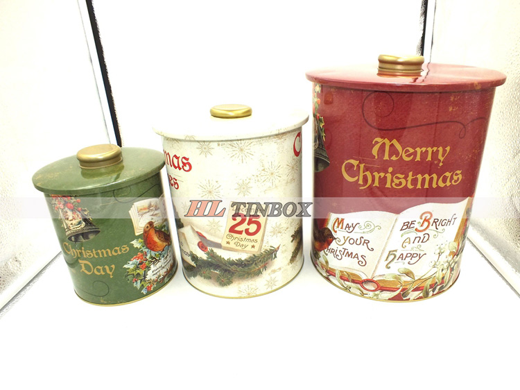 Set of Christmas Round Tin Can Tin Box with Round Big Lid