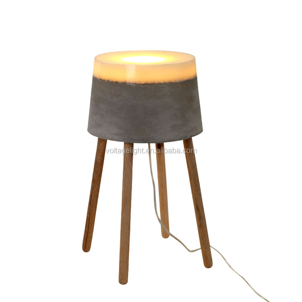 Industrial Coffee Table Lamp: Industrial Concrete Table Lamp Modern Concrete With Wood
