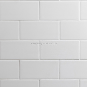 "3""x6"" Subway Pattern Solid White Cultured Marble Shower Surround"