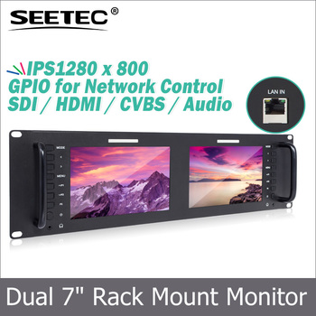 "TV broadcasting equipment IPS 1280*800 7"" Dual LCD Monitor Rack-Mount"