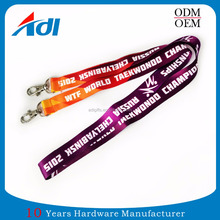 No minimum order cheap custom 20mm single sublimation lanyard with double end clip&hook