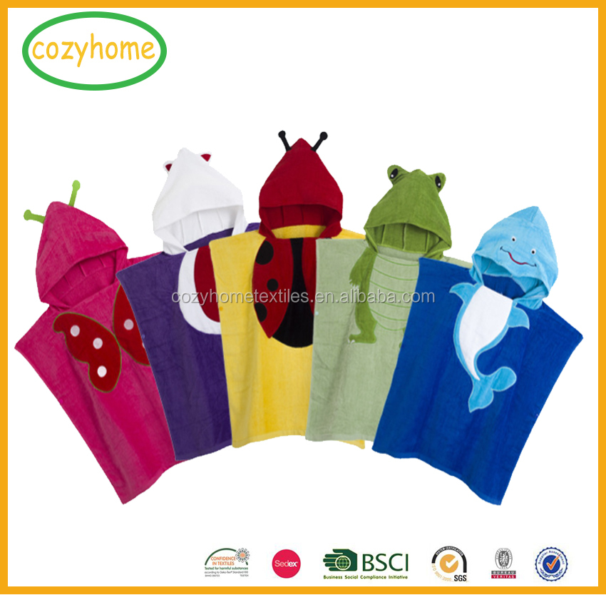 2017 New design pure cotton hooded baby towel with high quality custom kids hooded beach bath pool towel christmas gift for kids