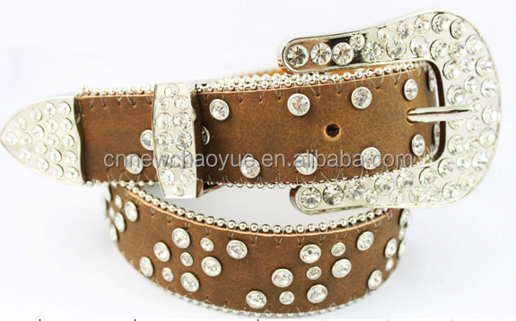 Brown color leather three buckle sets with rhistones cowgirl belts K2107