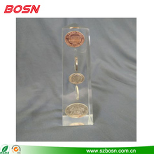 High quality acrylic lucite obelisk coins desk paperweight for sale