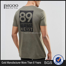 MGOO Hip Hop Custom OEM Designs Front Plain Back Print Long T shirt For Tall