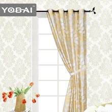 Fashionable faux silk printed modern window Curtain for living room