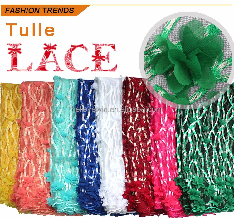 wholesale new fashion african tulle lace french net lace for big party