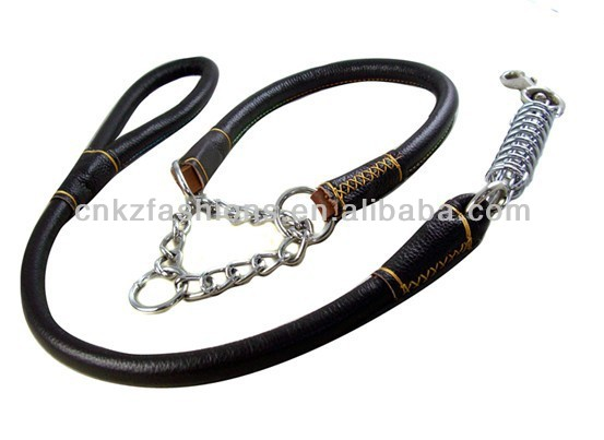 handmade genuine leather dog leash and collar for big animals