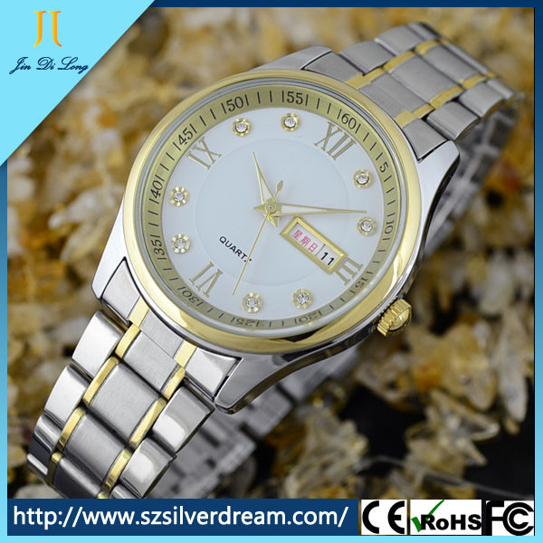 High quality hot sale fashion business diamond gold pointer quartz watch