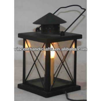 Rustic classic black metal hurricane lantern with electric candle light for home decorative