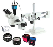 Brand 3.5X-90X!Double Boom Stand Stereo Zoom trinocular Industrial Microscope+14MP Camera +144pcs Led Microscope Accessories