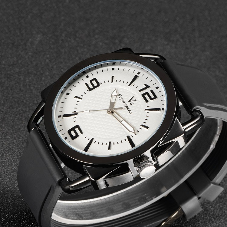 v6 V0268J Luxury Brand V6 Sports Watch for men Large dial Quartz Watches Rubber strap wristwatch Steel Case