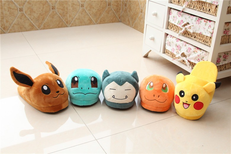 Pikachu pokemon high quality winter warm rubber pvc slipper plush stuffed animals