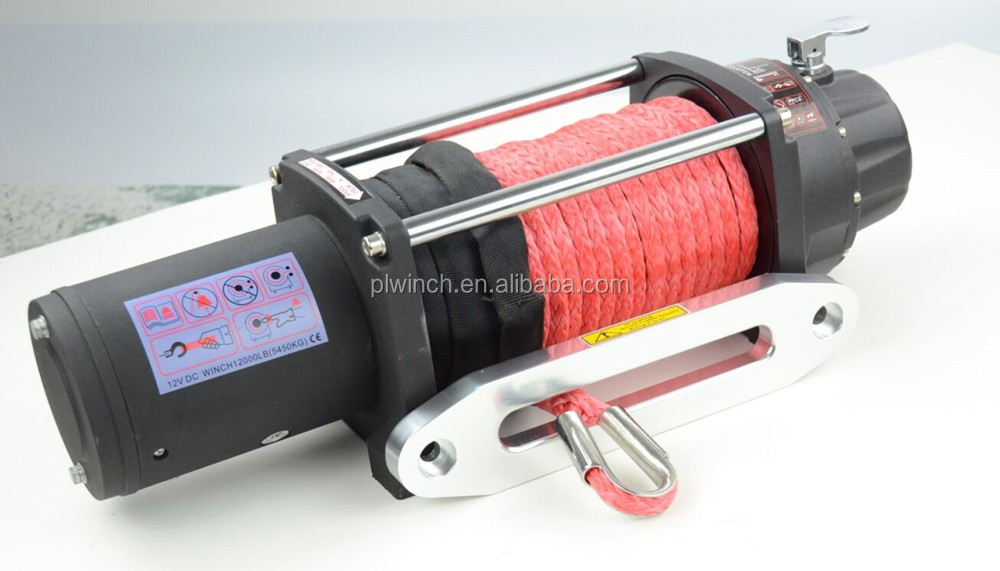 synthetic rope electric winch 12000lb for off road recovery 12V