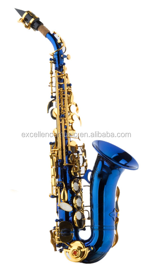 small curved soprano children sax/colored saxophone/sax blue