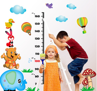 AY9233 growth chart animals and fire balloon DIY wall sticker