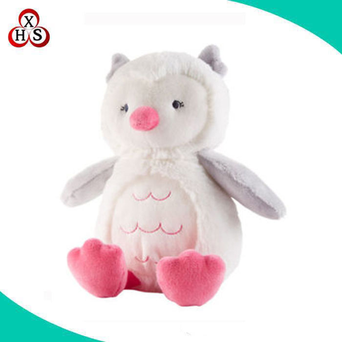 super soft pink and white sitting 8 inch owl plush stuffed owl toy