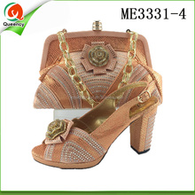 ME3331 Queency Peach Color Retail Ladies Wedding Heel Shoes and Bag to Match for Party Women
