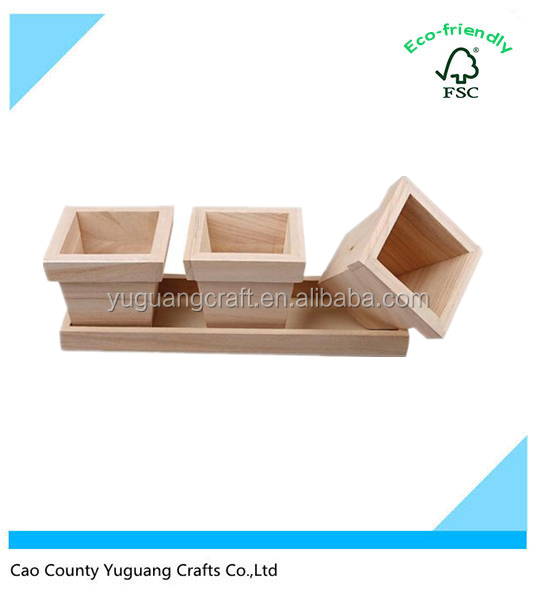 wholesale woody flower pot simple obong box christmas home decoration party display three small box