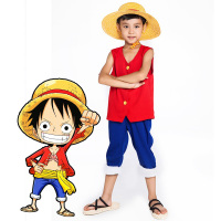 Japanese hot anime One Piece red Luffy kids clothes full set Cosplay Costume for boys