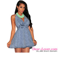 2016 High quality Denim Belted Skater Dress casual clothing for women