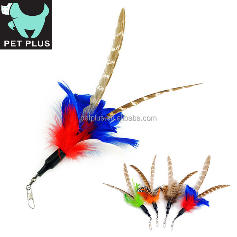 Funny bird fur colorful feature pet cat stick toys