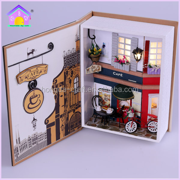 Wholesale DIY mini doll house wooden toys with light for kids