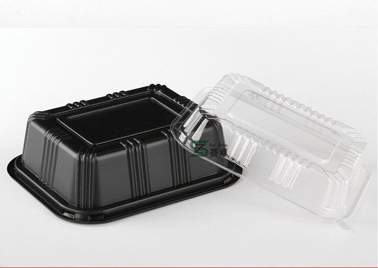 Food Grade Disposable Black Plastic Take Away Food