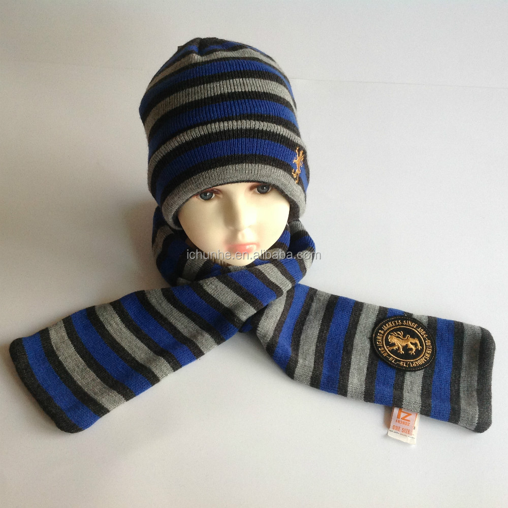new lovely winter fashion acrylic knitted kids scarf hat sets factory