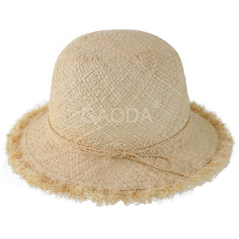 Handmade knitted natural color raffia straw bucket hat