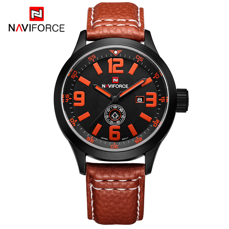 2016 NAVIFORCE Brand Leather Band Western Japan Movement Men Quartz Watch Water Resistant Wholesale Price