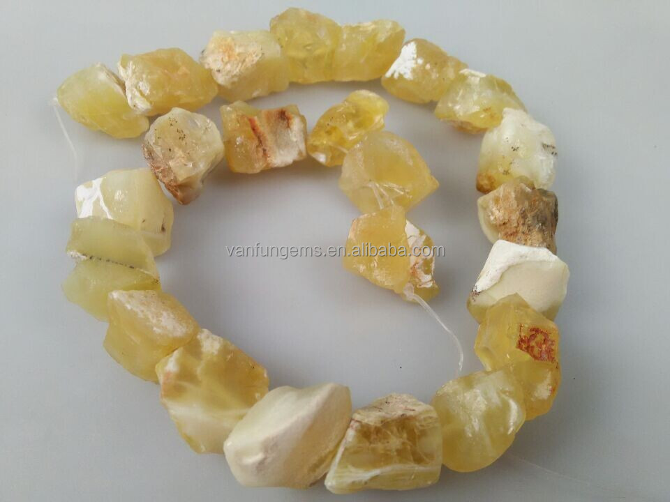 Tumble spring yellow jade rough gemstone mineral nugget