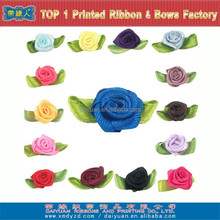 Colorful Mini satin ribbon roses with satin leaves